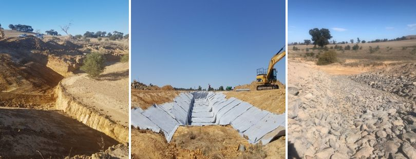 Three photosgraphs showing the progress of a rock chute installation