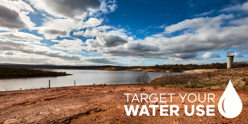 Target your water use over a photo of red dust and a dam