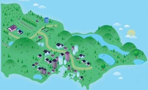 Animated graphic of Victoria with water resources on it