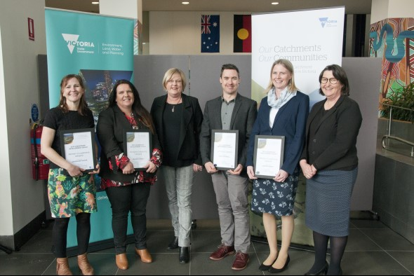 2019 recipients of OCOC Leadership Grants posing with the Minister and Deputy Secretary for water.