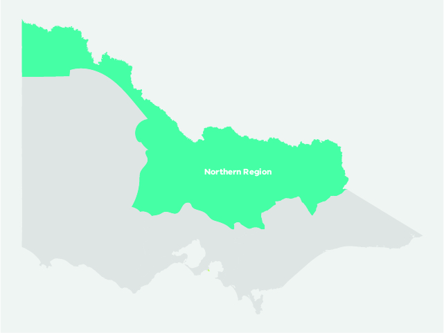 Map showing the borders of the Northern Region in Victoria