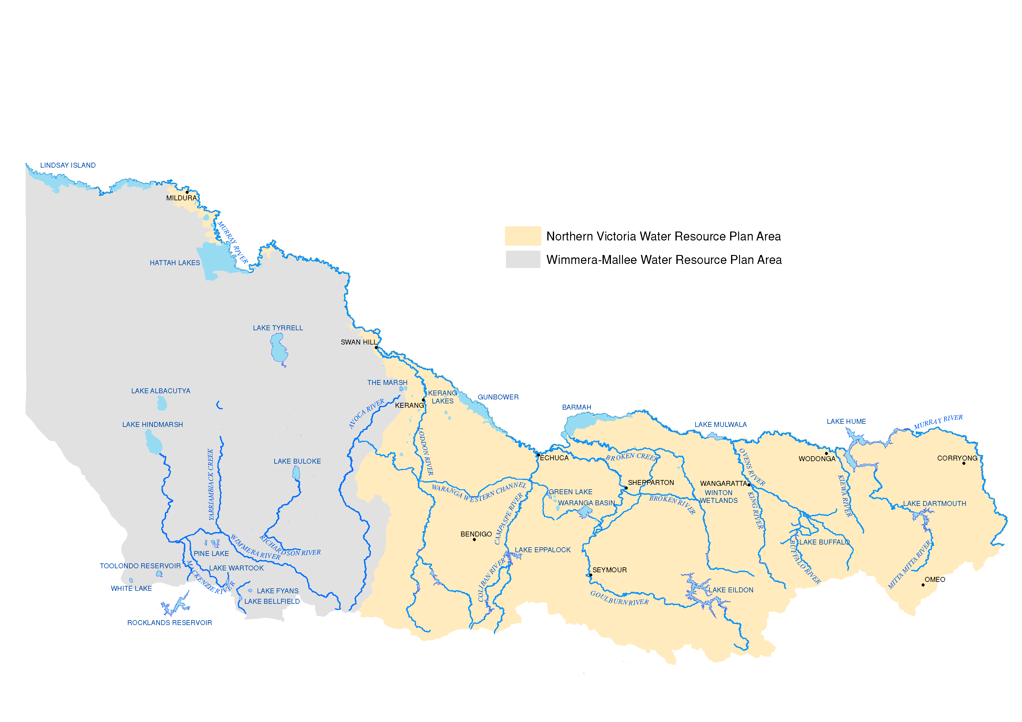 Map of Northern Victoria, showing area showing the area each plan covers: Northern Victoria Water Resource Plan to the East and Wimmera-Mallee Water Resource Plan to the West