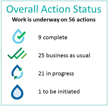 Overall Action Status: work is underway on 56 actions. 9 complete, 25 business as usual, 21 in progress, 1 to be initiated