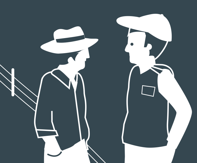 Stylised image of two farmers talking next to a fence