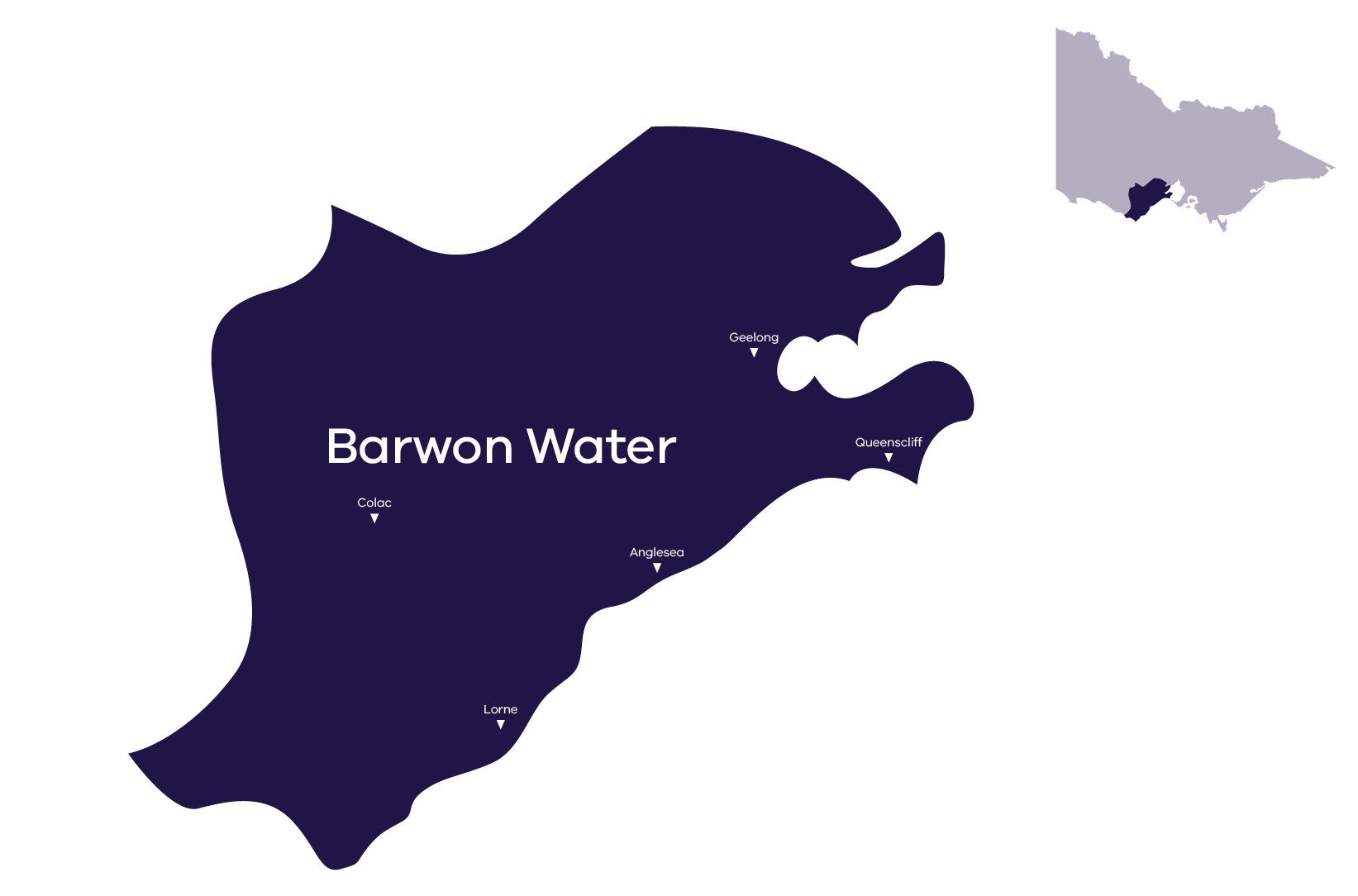 Stylised map of service area, contact Barwon Water for service area information 1300 656 007