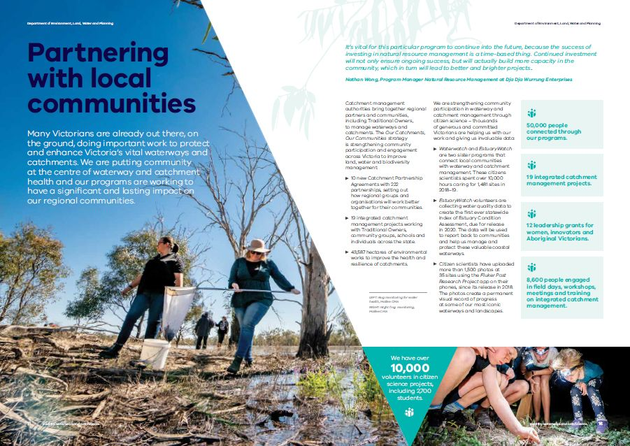 Pages from the Healthy Waterways Snapshot highlighting local communities.