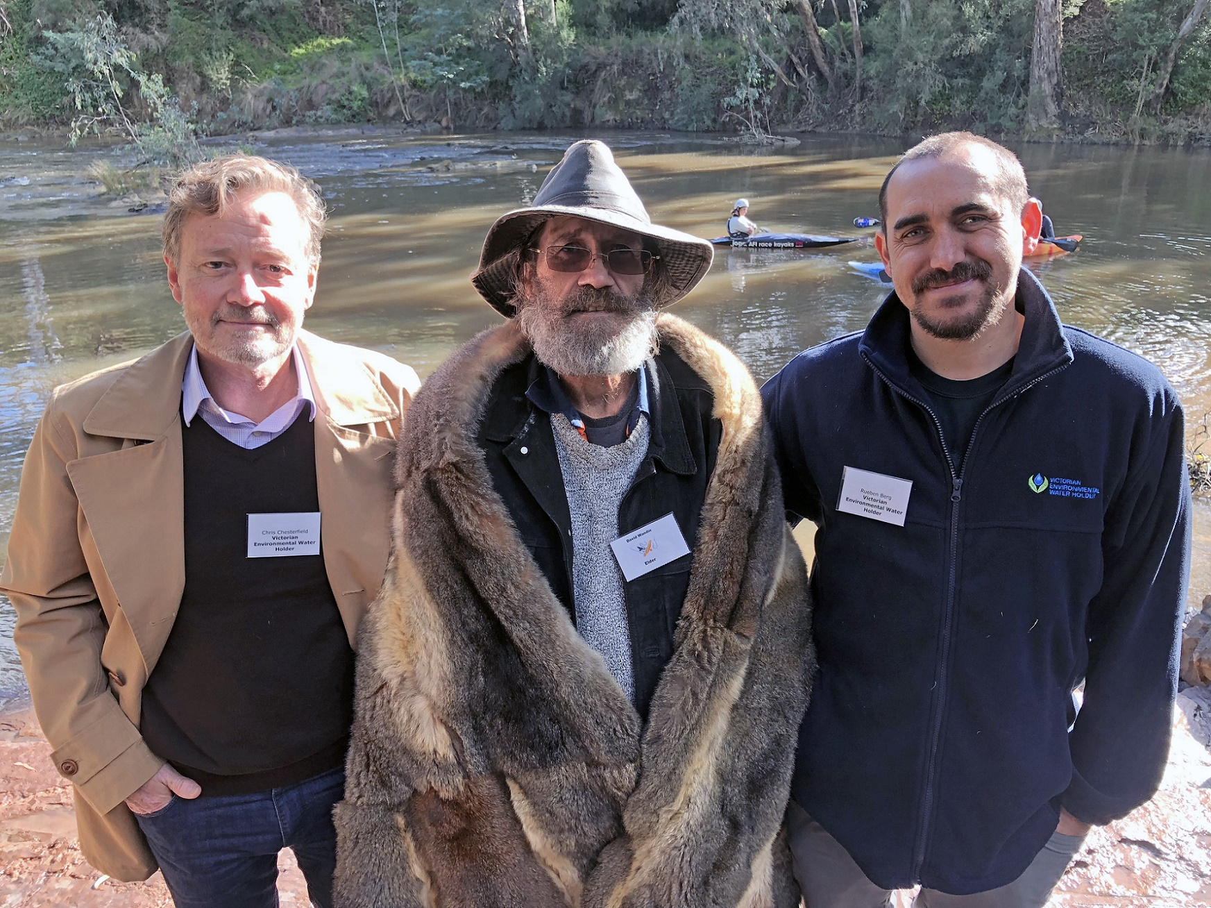 Photo of VEWH Commissioners Chris Chesterfield and Rueben Berg with Uncle David Wandin