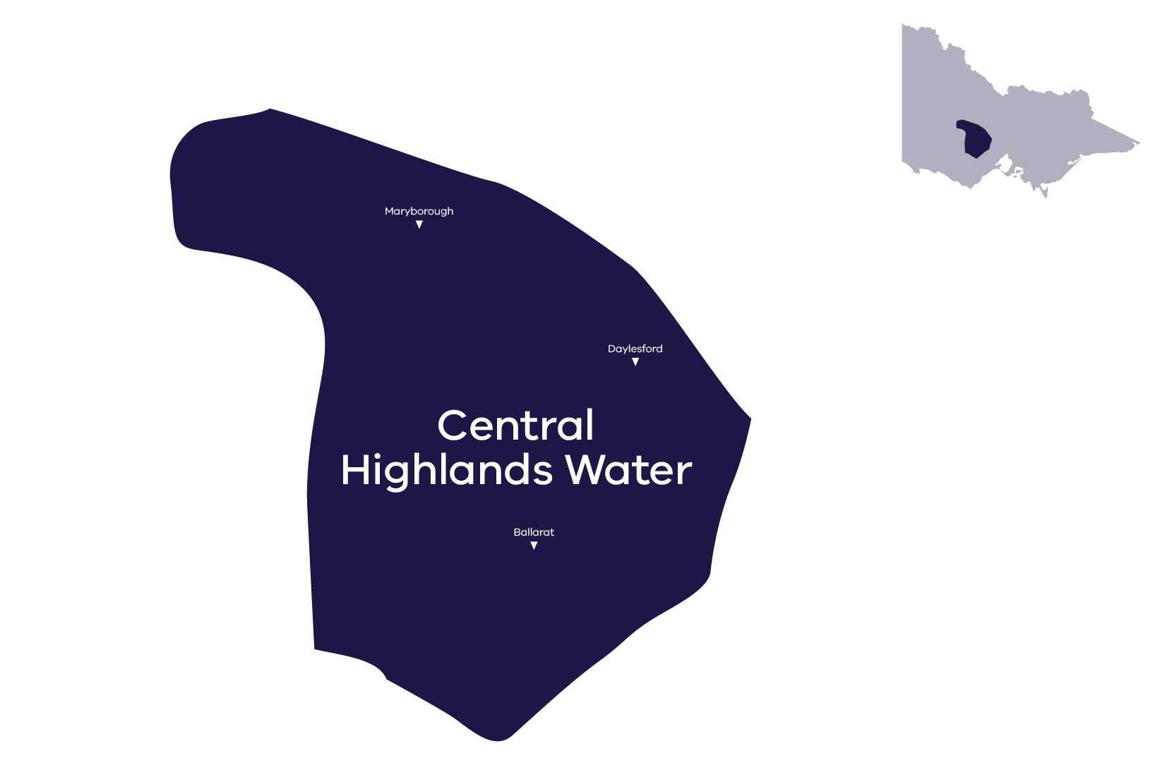 Stylised map of service area. Contact Central Highlands Water for more information 1800 061 514