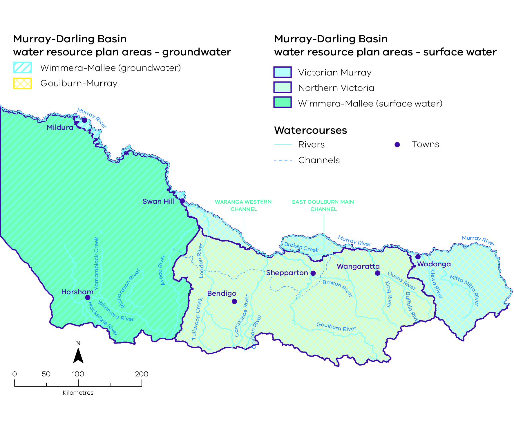 image showing the boundaries of Victoria's five water resource plan areas.