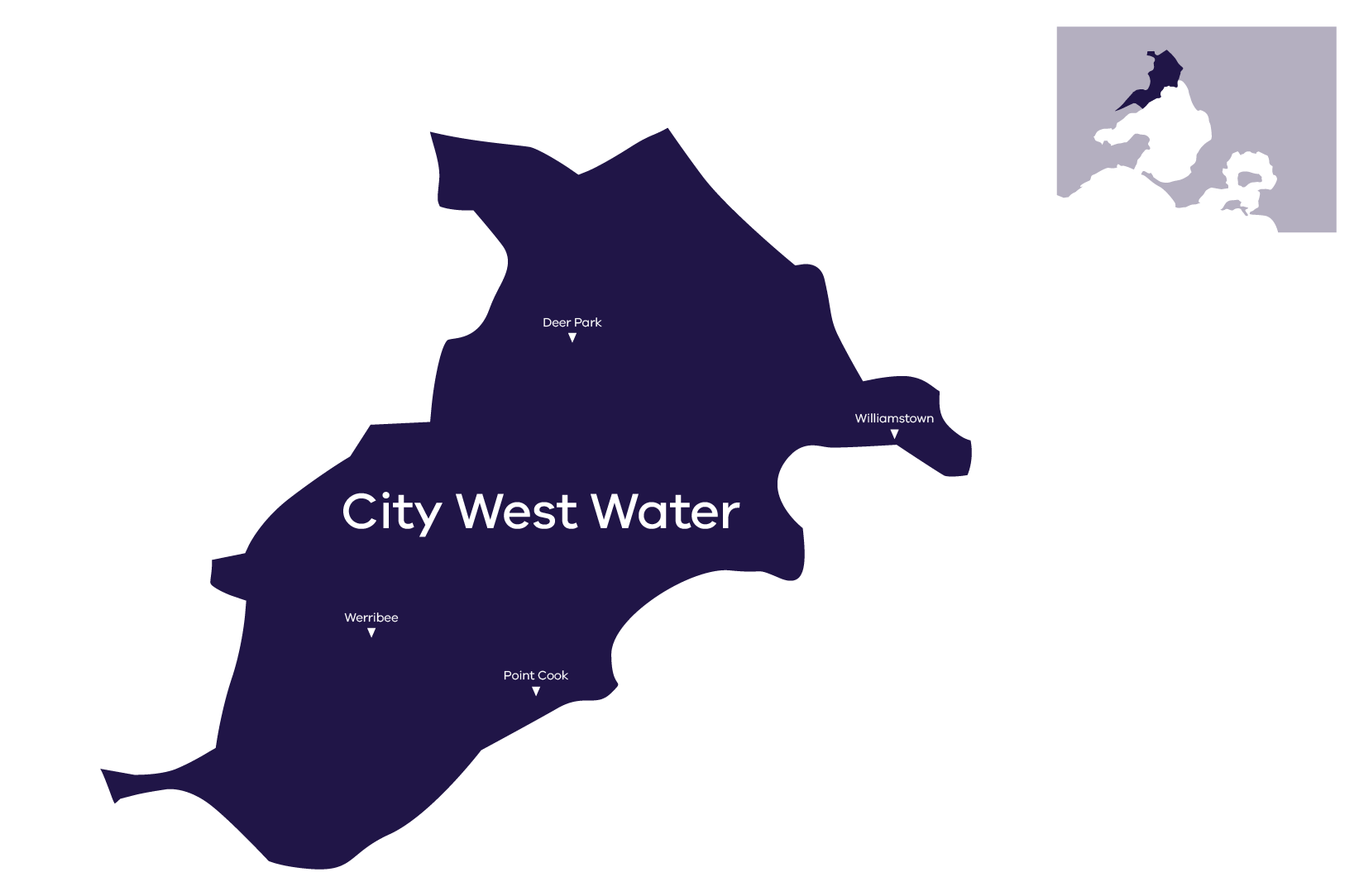 Stylised map of City West Water's service area, for more information call City West Water on 13 16 91