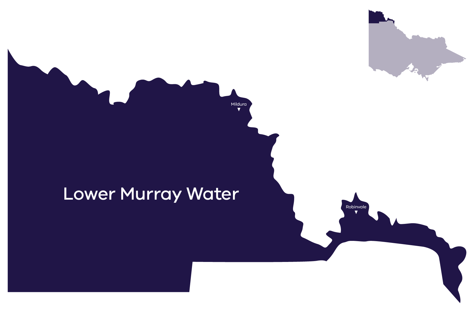 Stylised map of service area, contact Lower Murray Water for more information (03) 5051 3400