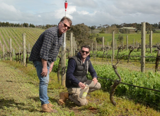 Two men testing water efficiency at a vineyard