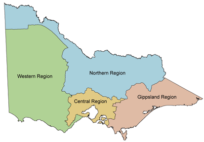 There are four regions in Victoria, Western, Northern, Central and Gippsland