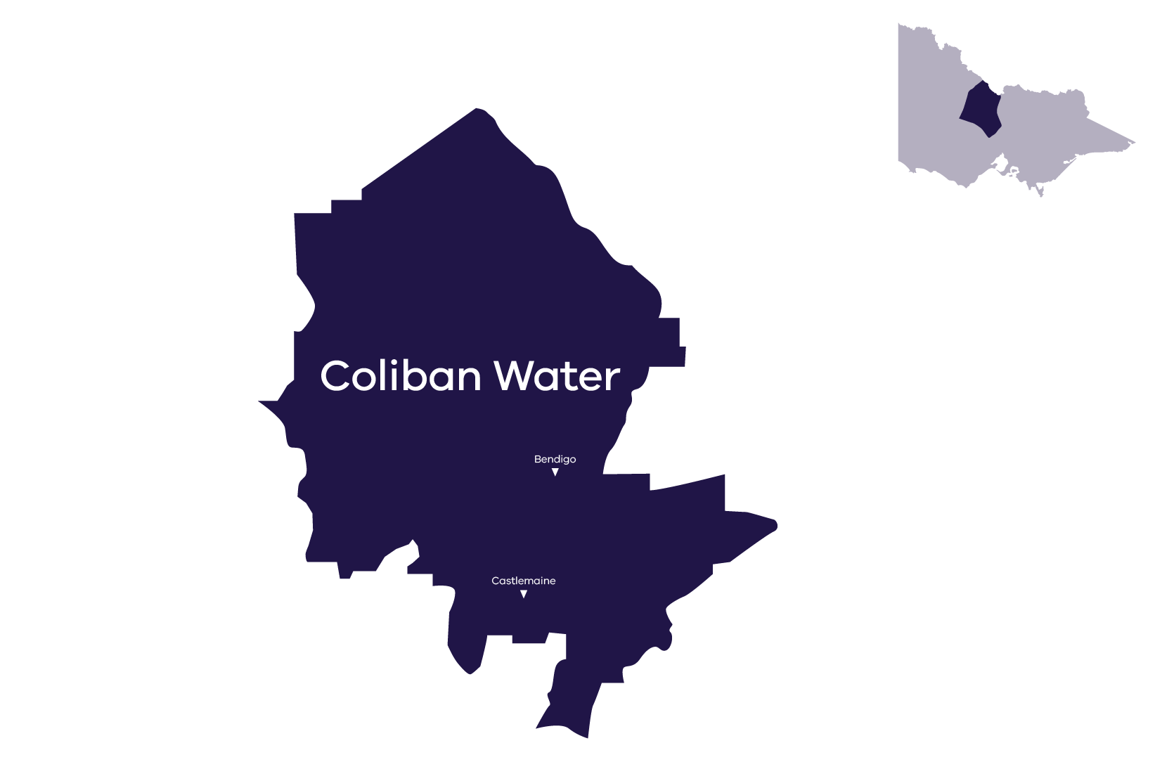Stylised map of Coliban Water's service area. For more information call Coliban Water on 1300 363 200