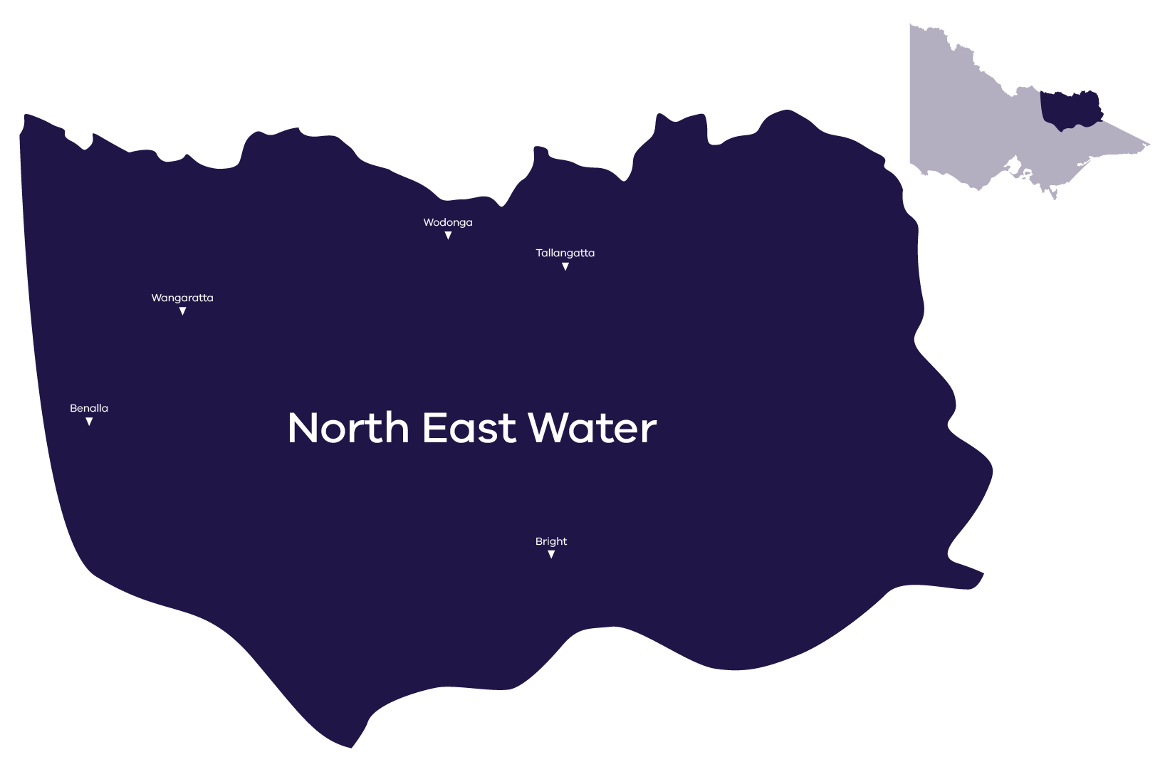Stylised map of service area, for more information contact North East Water 1300 361 622