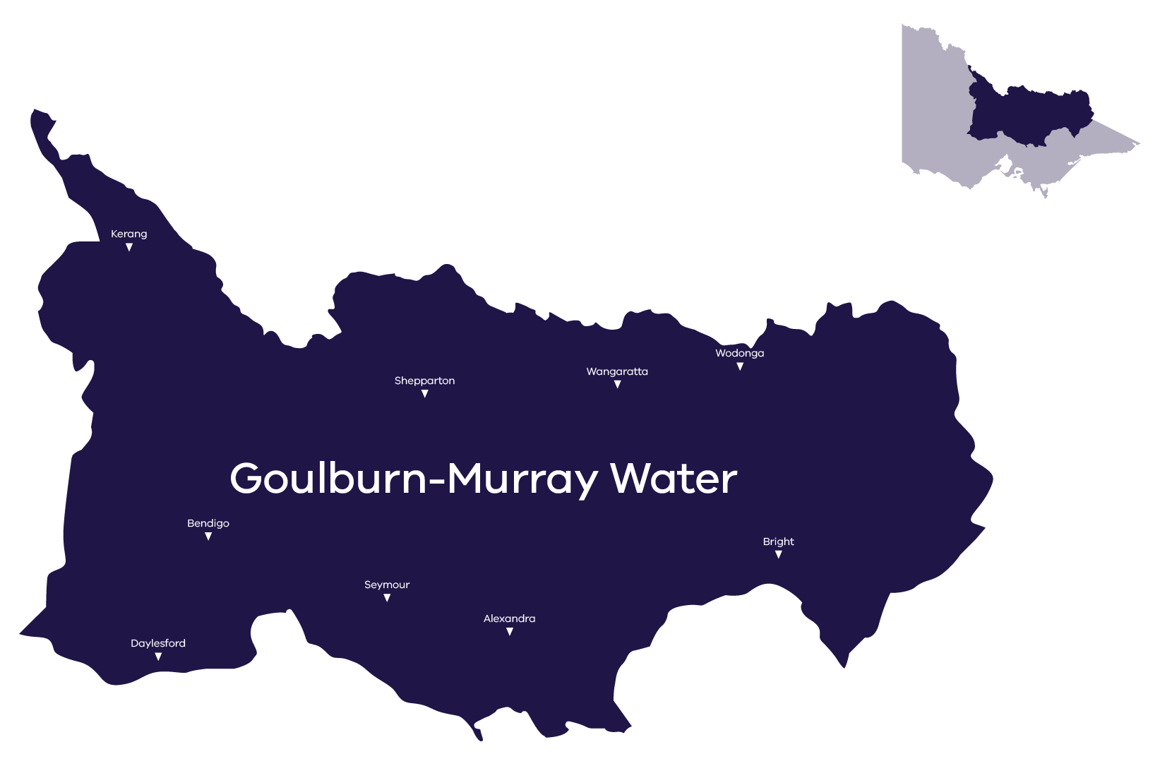 Stylised map of GMW service area, for more information call Goulburn Murray Water on 1800 013 357