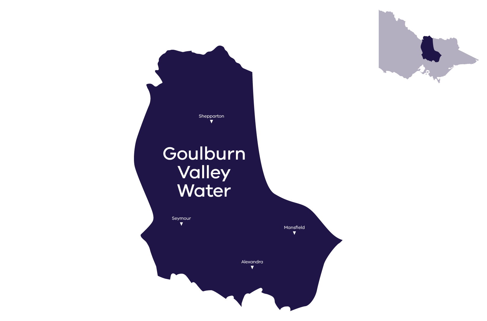 Stylised map of service area, for more information call Goulburn Valley Water (03) 5832 4800