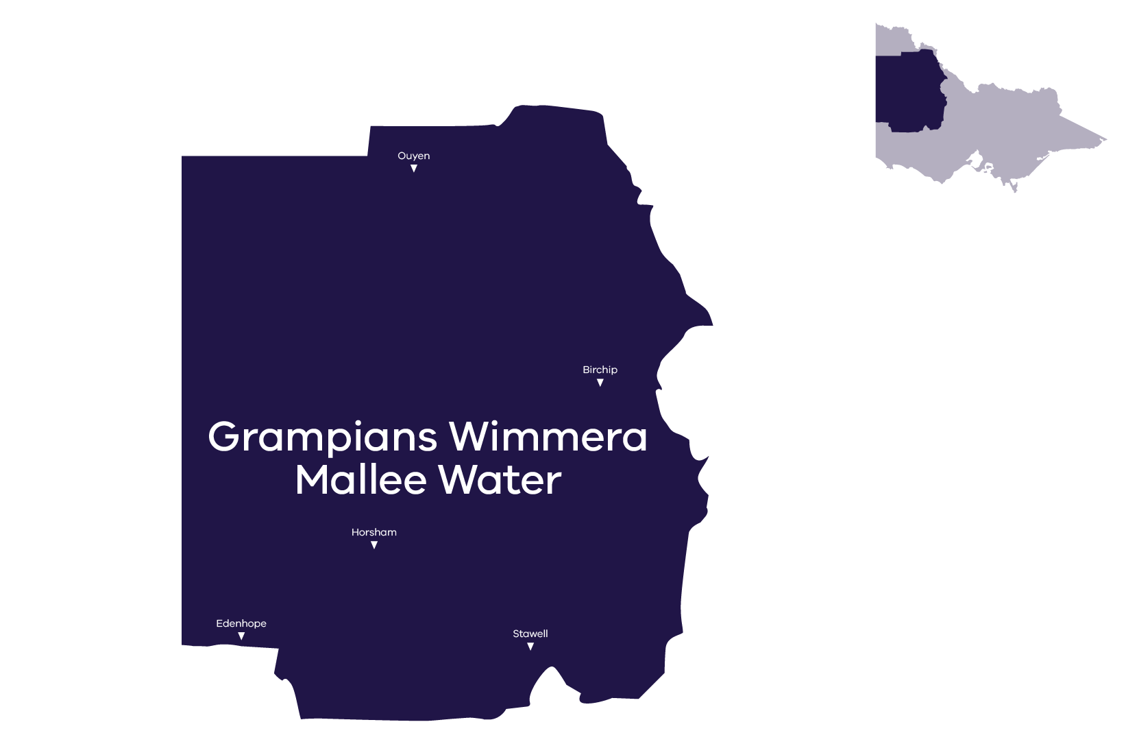 Stylised map of service area, call GWM Water for more information