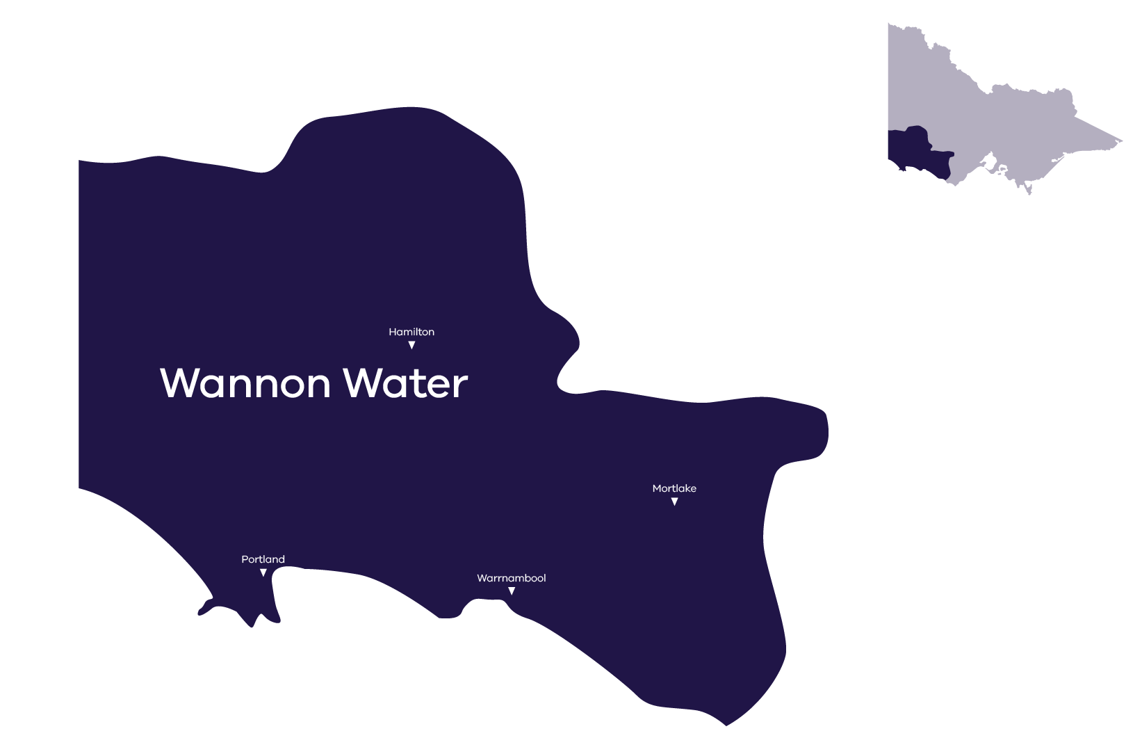Stylised map of service area, for more information contact Wannon Water 1300 926 666