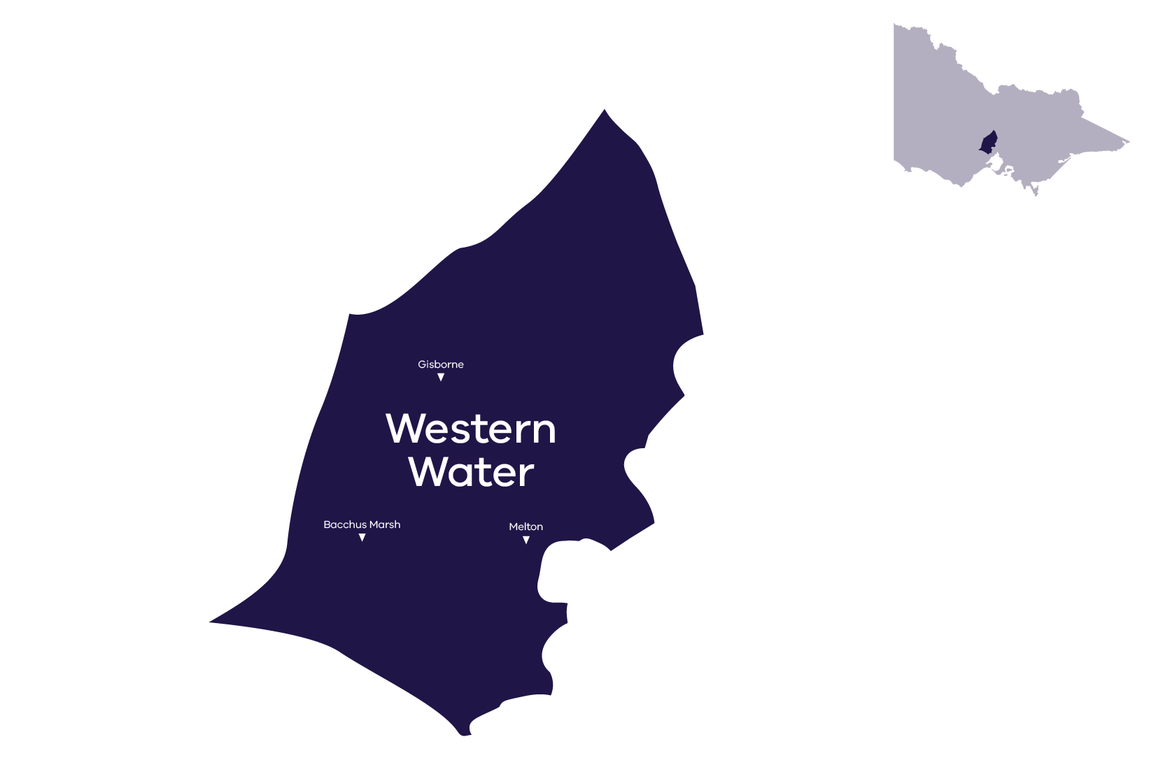 Stylised map of service area - contact Western Water for more information 1300 650 422